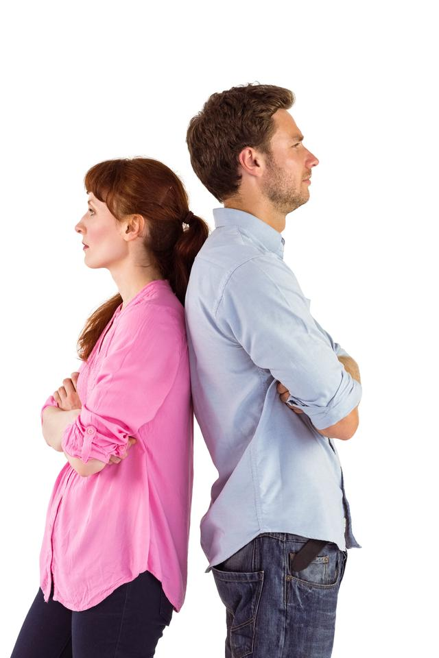 """Irritated couple ignoring each other"" stock image"