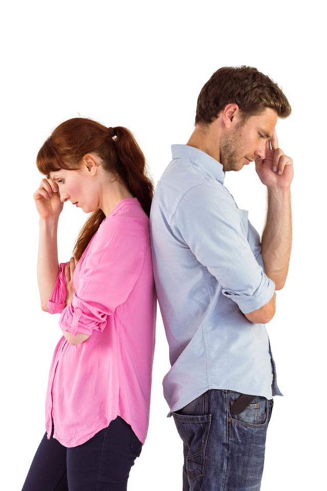 """""""Irritated couple ignoring each other"""" stock image"""