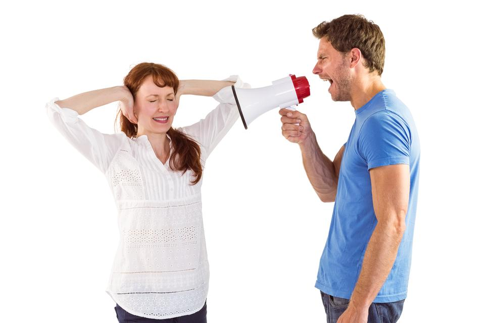 """Man shouting through a megaphone"" stock image"
