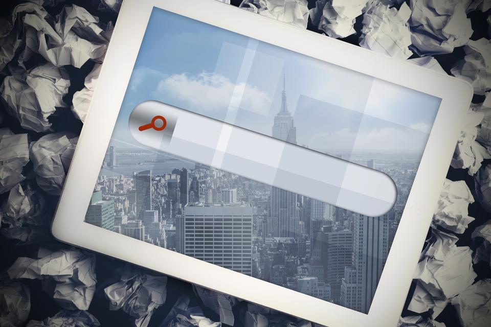 """""""Tablet with search bar"""" stock image"""