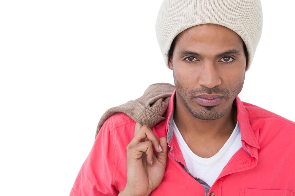 """Serious man wearing beanie hat"" stock image"