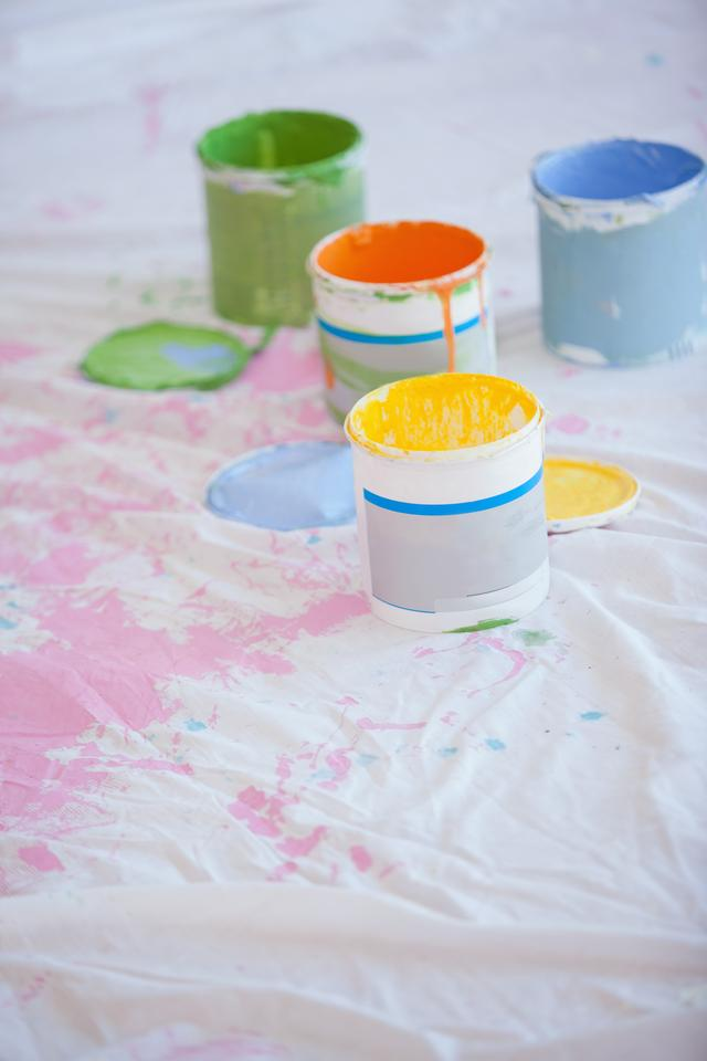"""""""Different paint cans on the floor"""" stock image"""