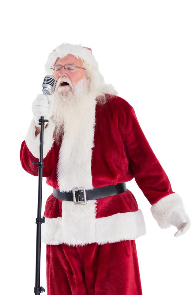 """Santa sings like a Superstar"" stock image"