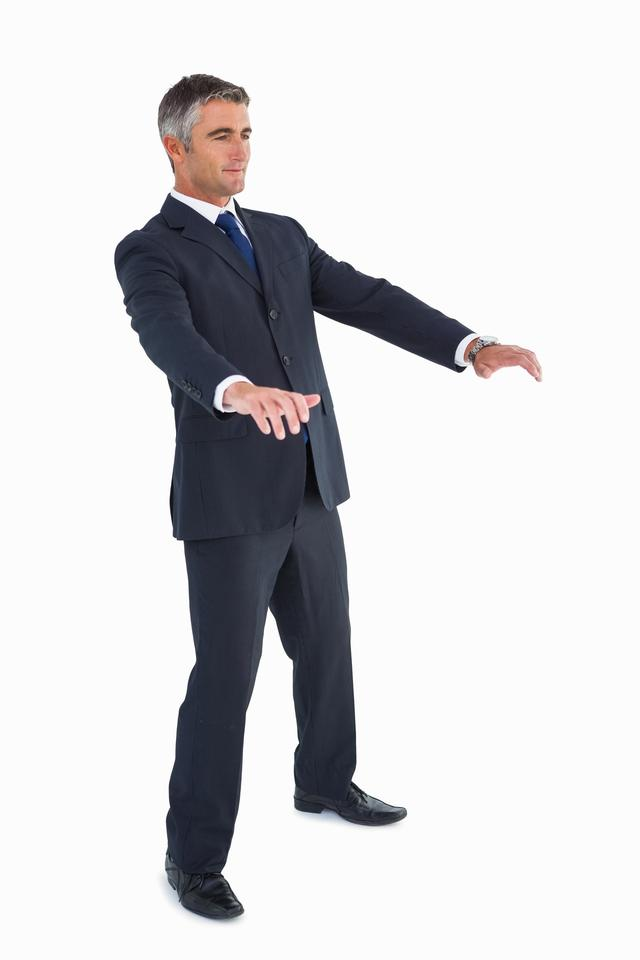 """Businessman well dressed with arms out"" stock image"