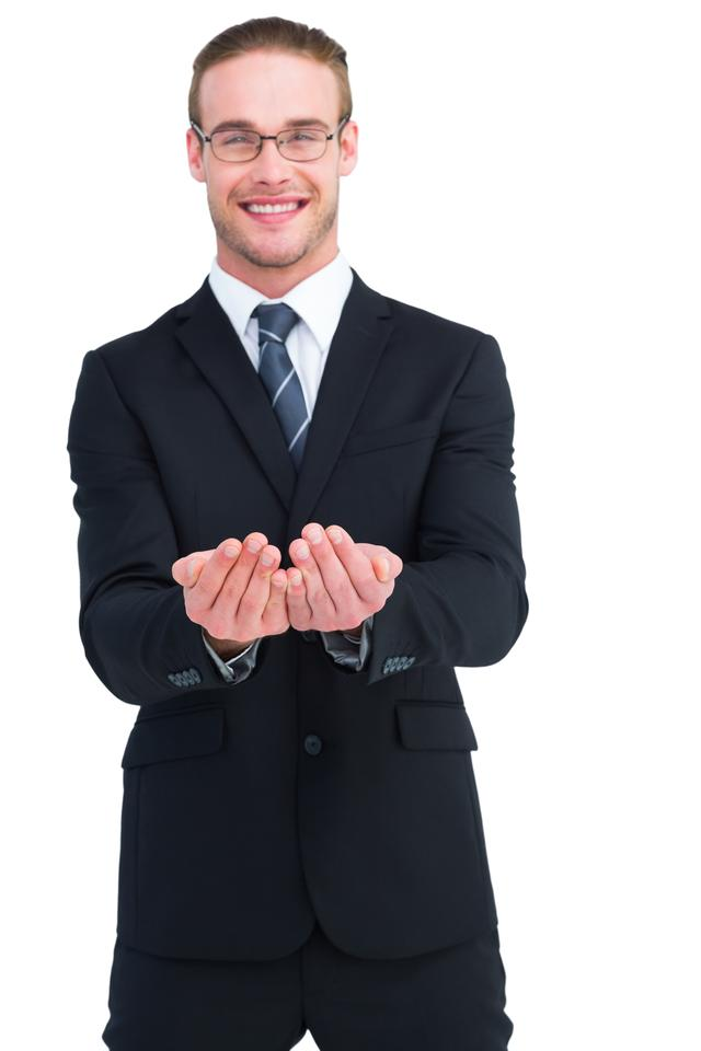 """""""Smiling businessman holding out his hands"""" stock image"""