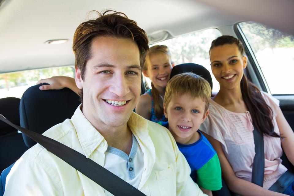 """""""Happy family on a road trip"""" stock image"""