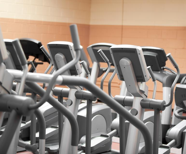 """""""Close up of treadmills in a fitness centre"""" stock image"""