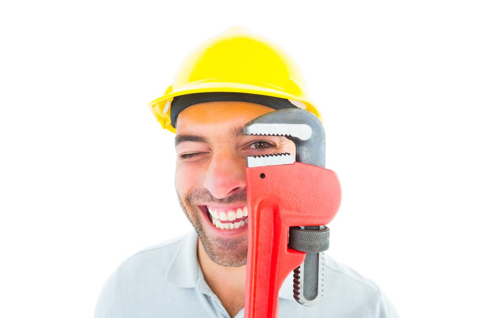 """Cheerful handyman looking through monkey wrench"" stock image"