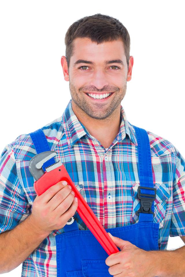"""Confident male repairman holding monkey wrench"" stock image"