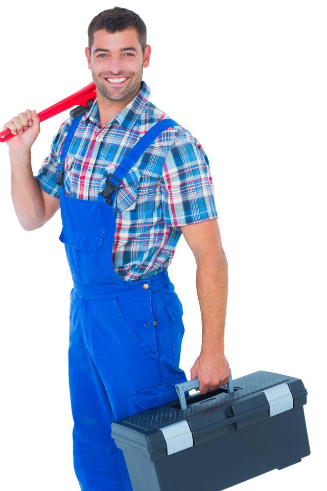 """Happy repairman with toolbox and monkey wrench"" stock image"