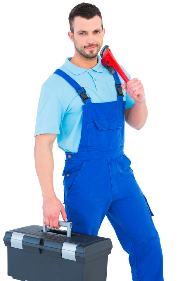 """Repairman with toolbox and monkey wrench"" stock image"