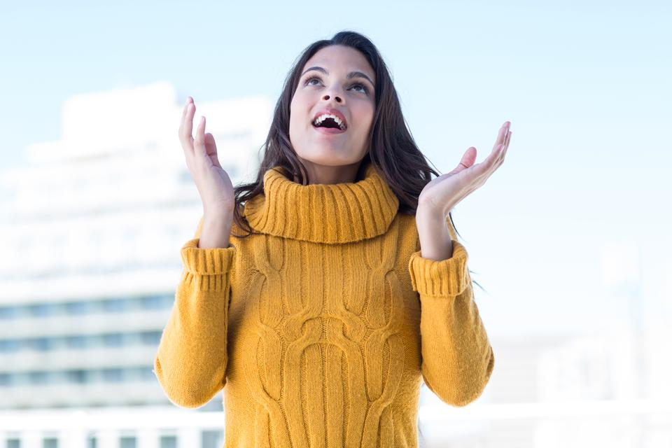 """""""Surprised woman with hands out"""" stock image"""