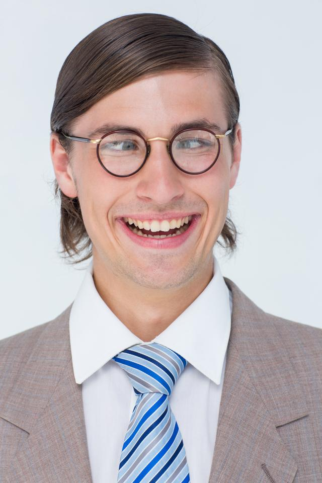 """Funny geeky businessman"" stock image"