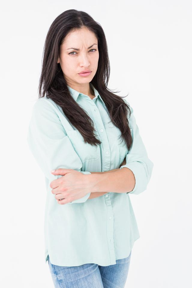 """Serious woman looking at camera"" stock image"
