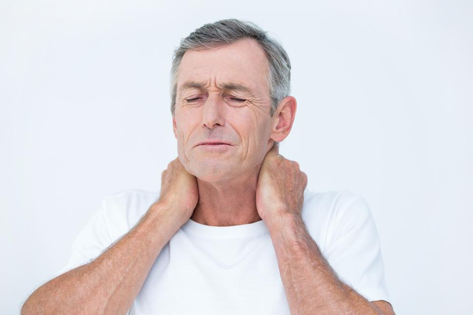 """""""Patient with neck ache"""" stock image"""