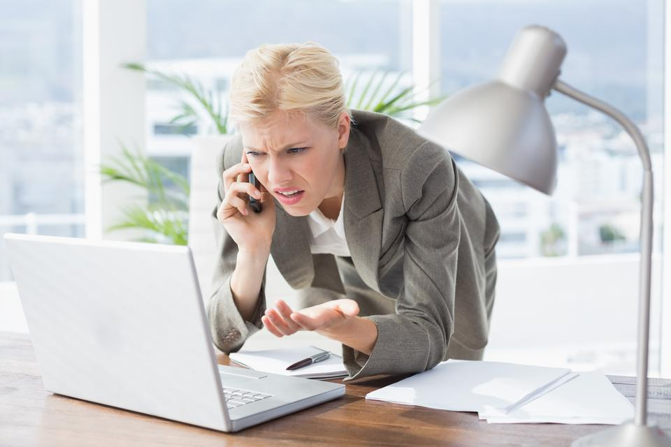 """""""Businesswoman on the phone and using her laptop"""" stock image"""