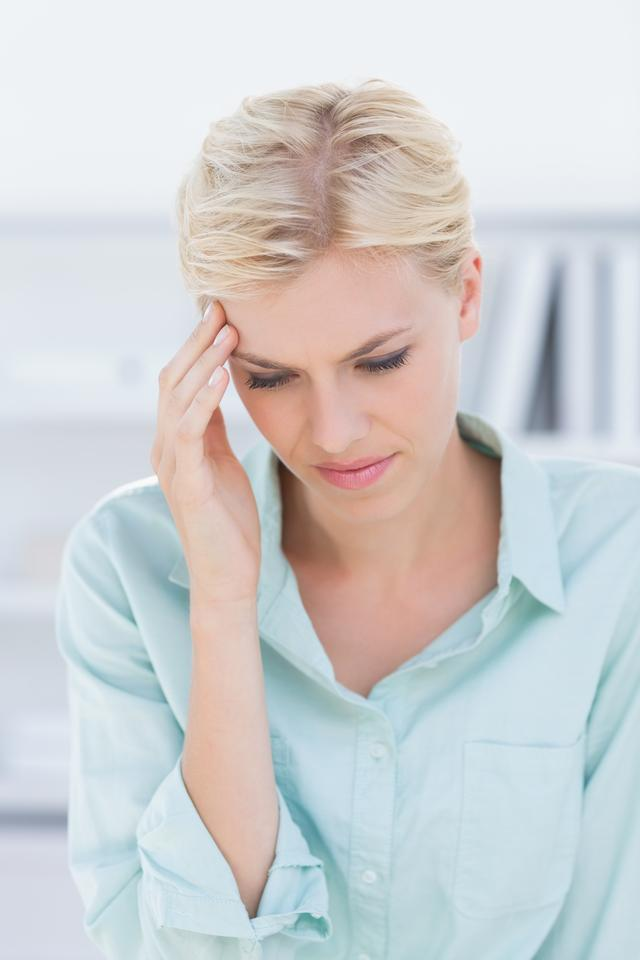 """""""Patient with head ache"""" stock image"""