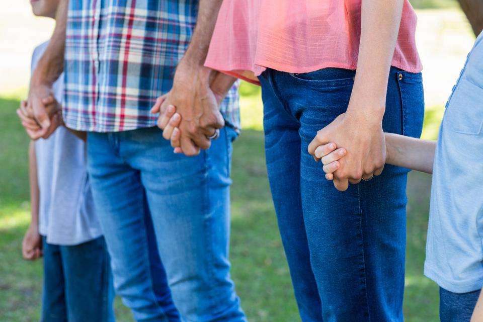 """""""family holding hands in the park"""" stock image"""