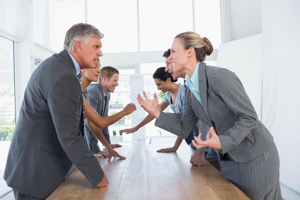 """Irritated business team arguing"" stock image"