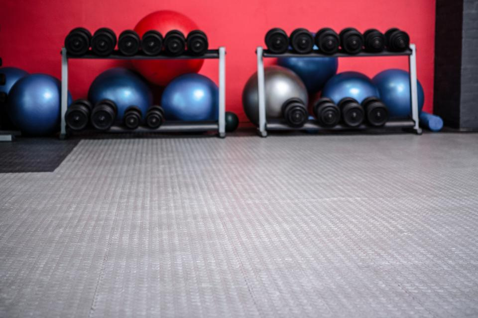 """Weights room with exercise balls"" stock image"