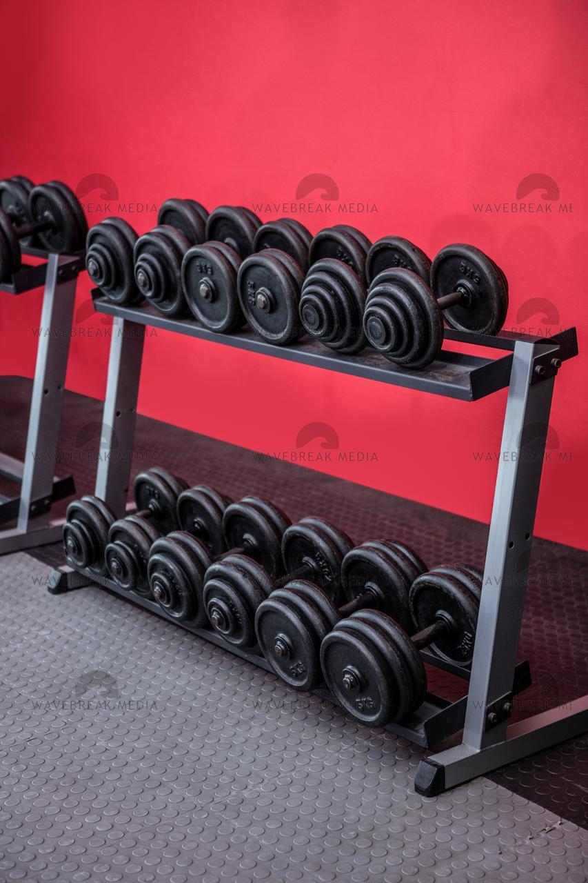 """Black weights on a stand"" stock image"