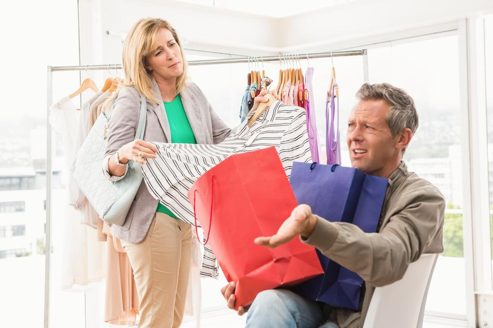 """""""Man complaining about his shopping woman"""" stock image"""