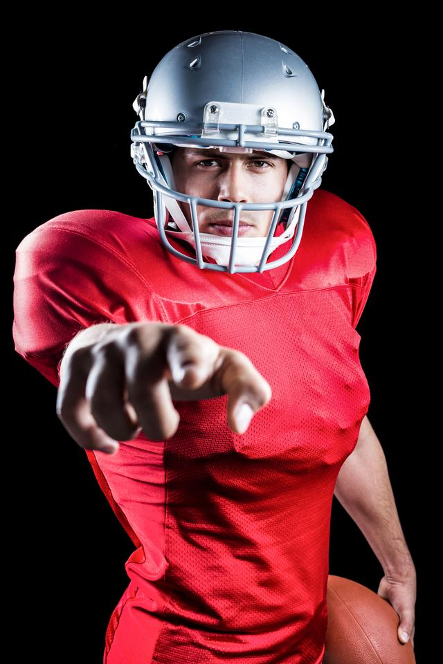 """""""Portrait of American football player pointing"""" stock image"""