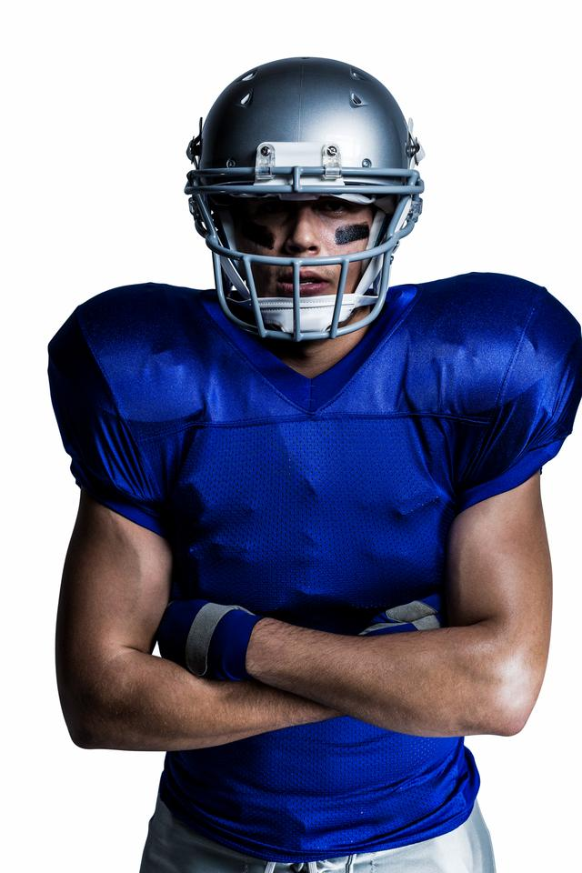"""""""American football player with arms crossed"""" stock image"""