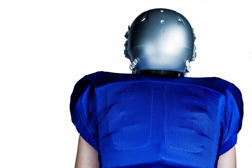 """""""Rear view of American football player"""" stock image"""