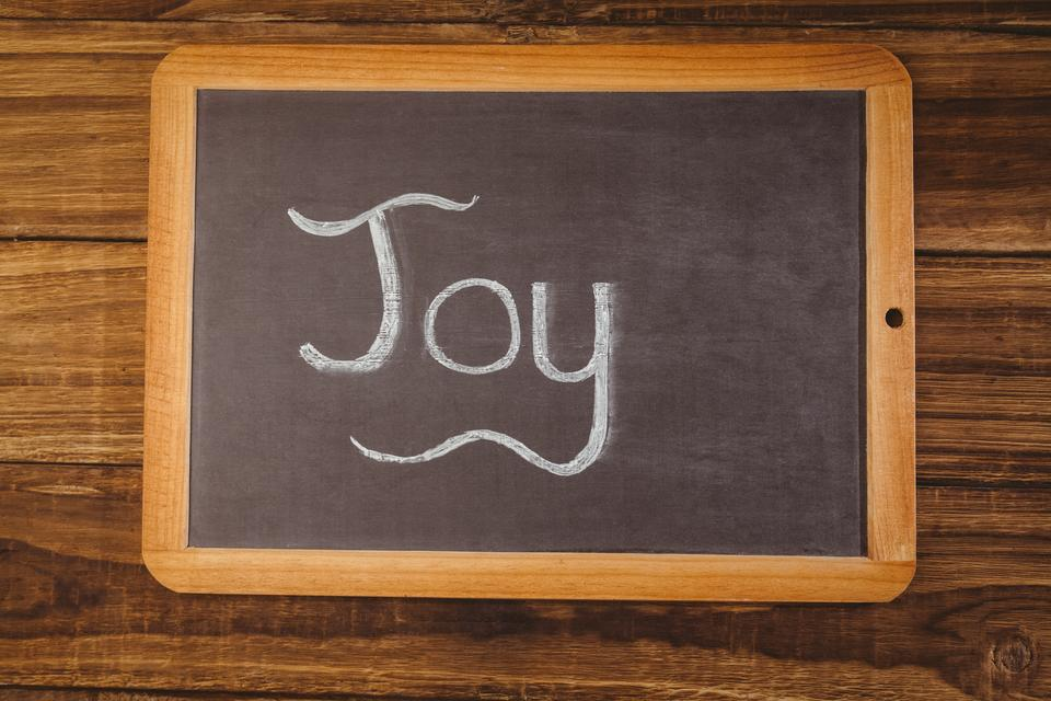 """Chalkboard on table with joy text"" stock image"