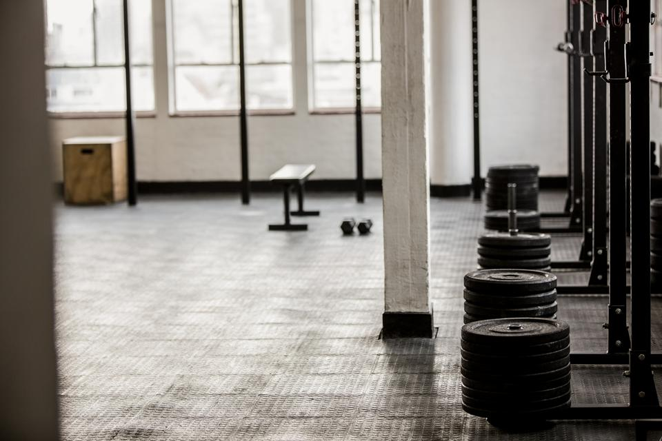 """""""Barbell disc plates arranged"""" stock image"""