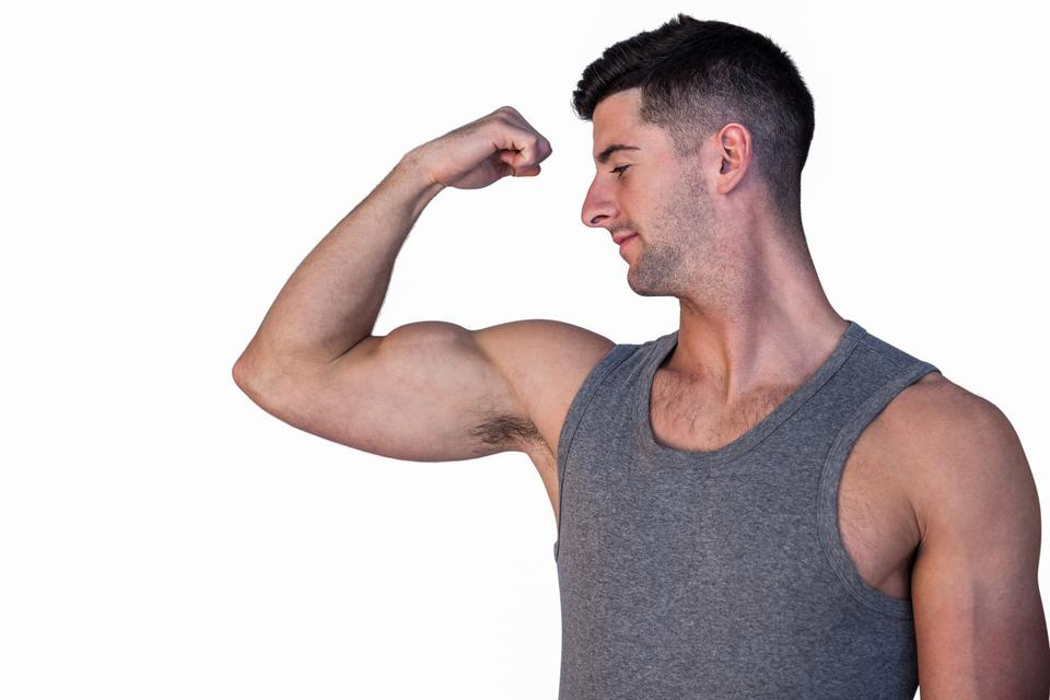 """""""Attractive man showing biceps"""" stock image"""