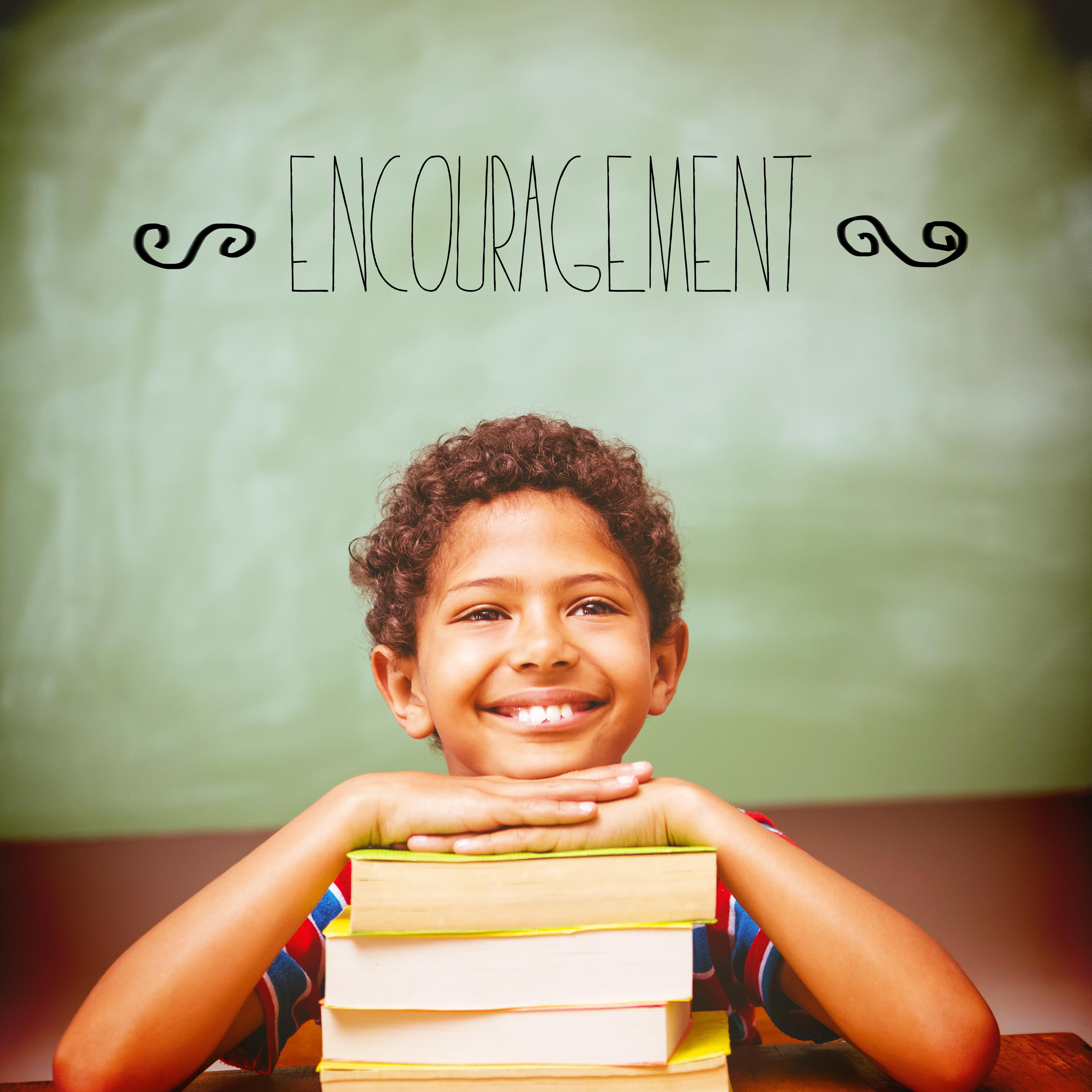 """""""Encouragement against little boy with stack of books in classroom"""" stock image"""