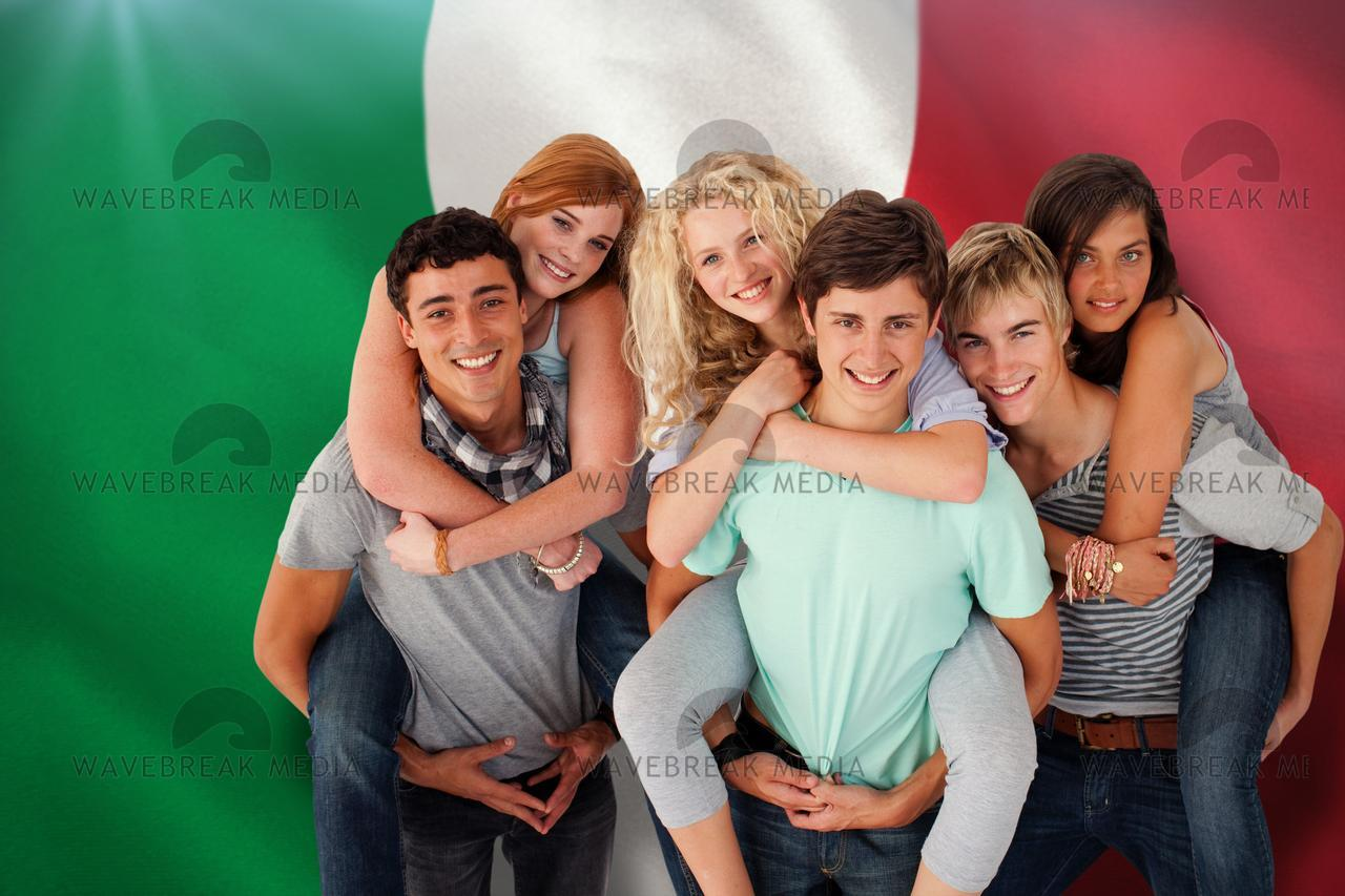 Composite image of teenagers giving their friends piggyback