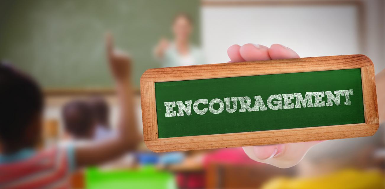 """""""Encouragement against pupils raising their hands during class"""" stock image"""