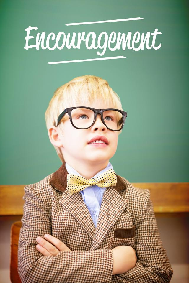 """""""Encouragement against cute pupil dressed up as teacher in classroom"""" stock image"""