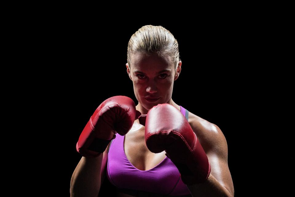 """""""Portrait of woman fighter with gloves"""" stock image"""