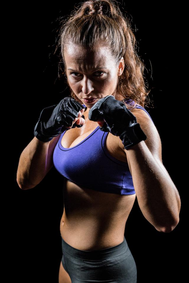 """""""Portrait of woman with fighting stance"""" stock image"""