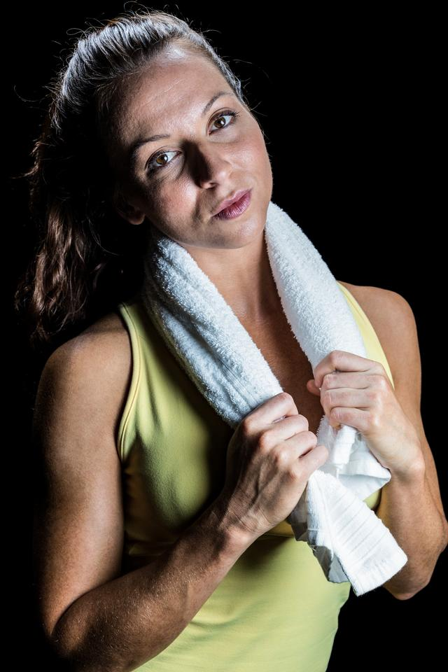 """Portrait of athlete with towel around neck"" stock image"