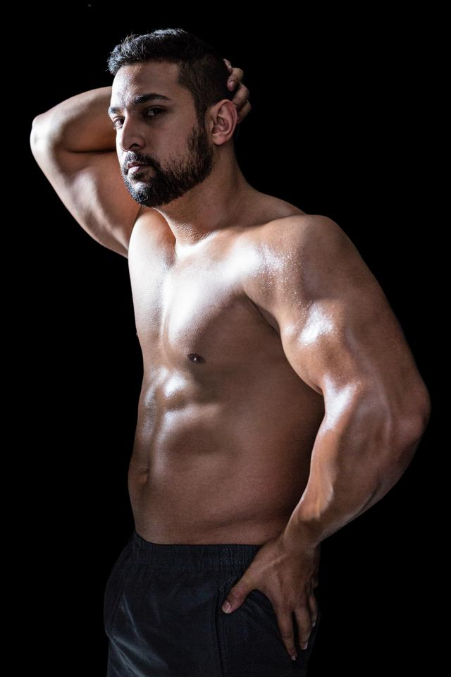 """Portrait of a confident bodybuilder man"" stock image"