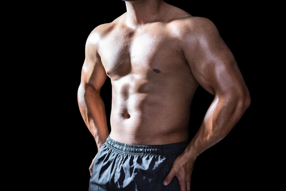 """""""Mid section of a bodybuilder man"""" stock image"""