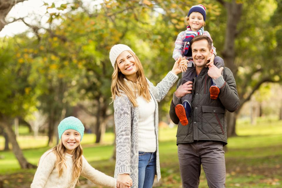 """""""Portrait of a smiling young family"""" stock image"""