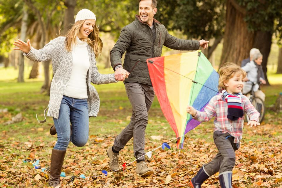 """""""Young family playing with a kite"""" stock image"""