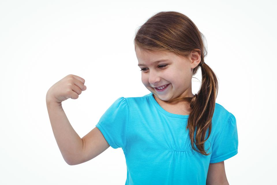 """""""Cute girl showing biceps"""" stock image"""