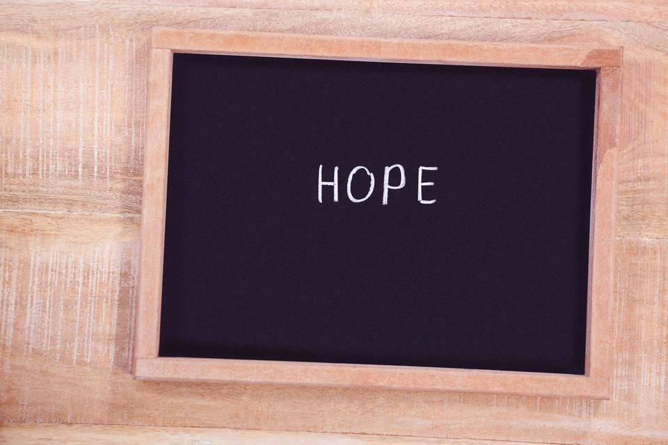 """""""Chalkboard with hope text"""" stock image"""