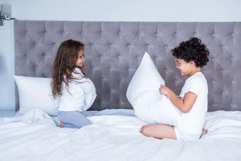 """Siblings pillow fighting"" stock image"