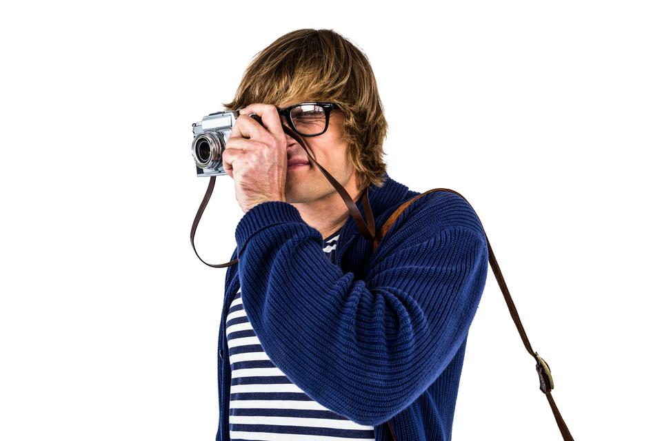 """""""Hipster taking pictures with an old camera"""" stock image"""