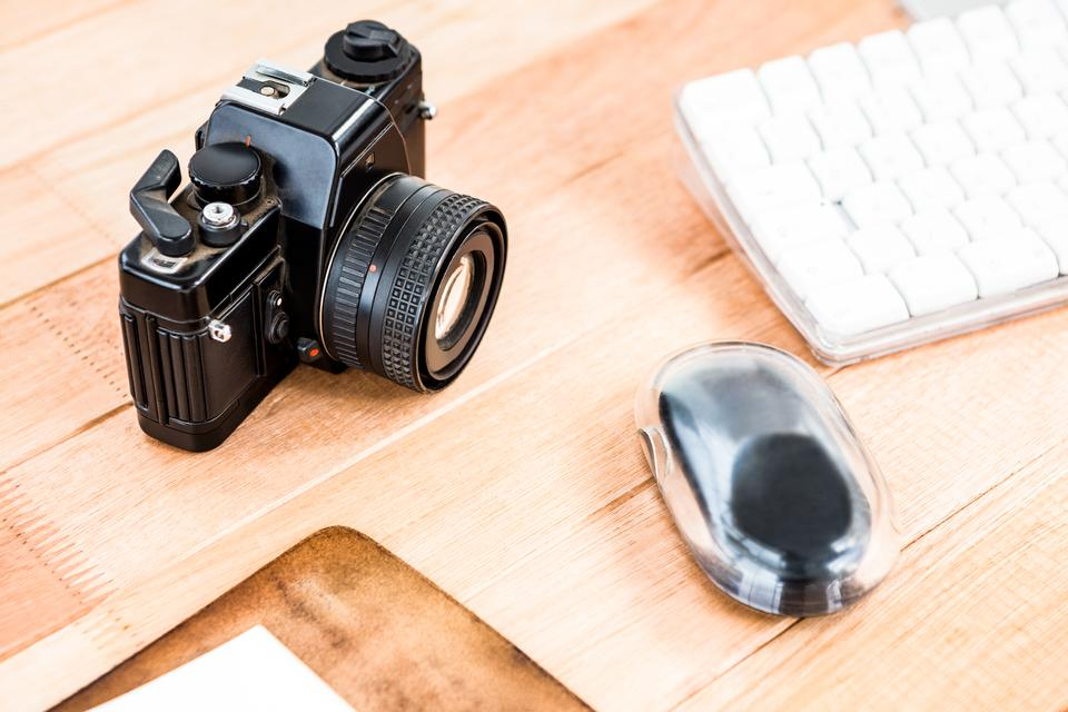 """""""Close up view of an old camera"""" stock image"""