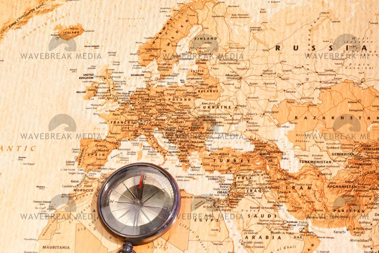 World Map With Compass Showing Europe And The Middle East License