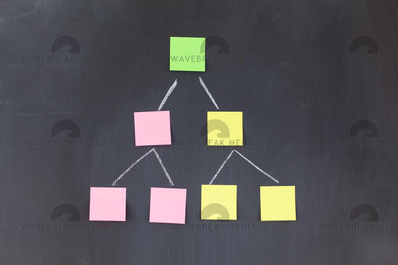 Blank stickon notes forming a pyramid - License, download or